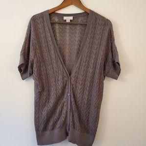 Ann Taylor LOFT knitted gray short sleeve cardigan